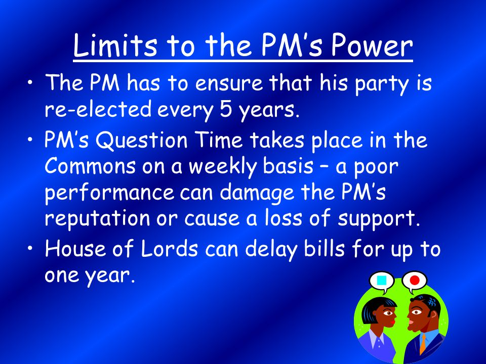 Limits to the PM's Power The PM has to ensure that his party is re-elected every 5 years. PM's Question Time takes place in the Commons on a weekly ba