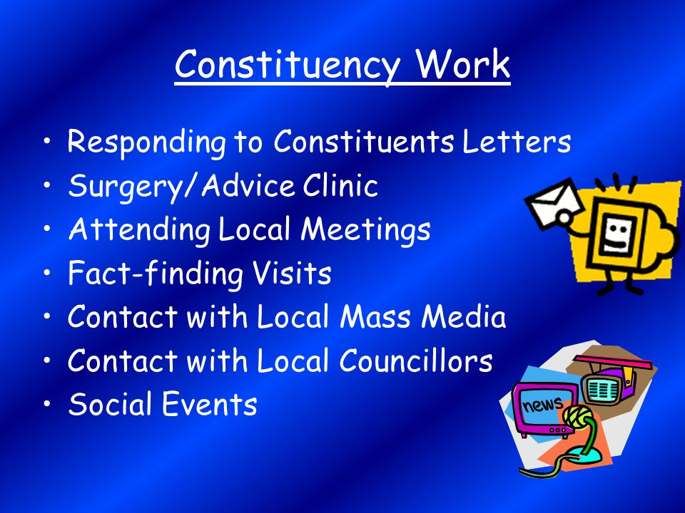 Constituency Work Responding to Constituents Letters Surgery/Advice Clinic Attending Local Meetings Fact-finding Visits Contact with Local Mass Media