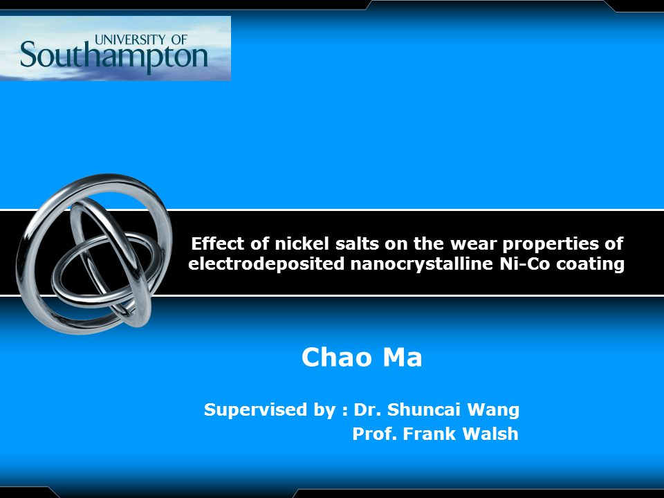 LOGO Effect of nickel salts on the wear properties of electrodeposited nanocrystalline Ni-Co coating Chao Ma Supervised by : Dr.