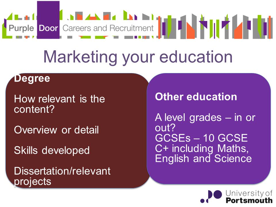 Marketing your education Degree How relevant is the content.