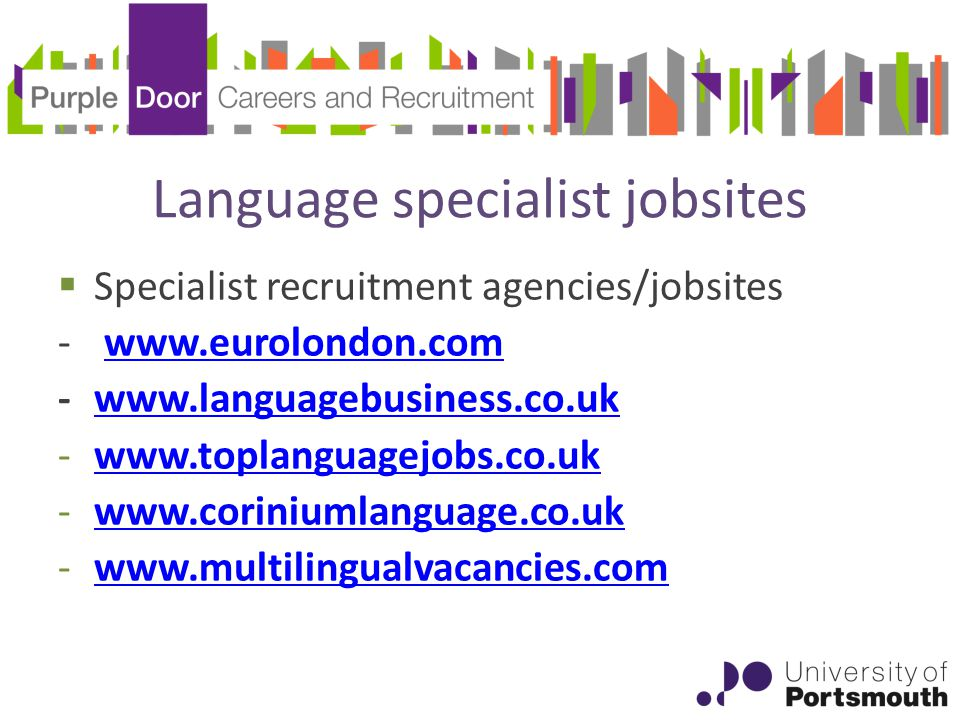 Language specialist jobsites  Specialist recruitment agencies/jobsites
