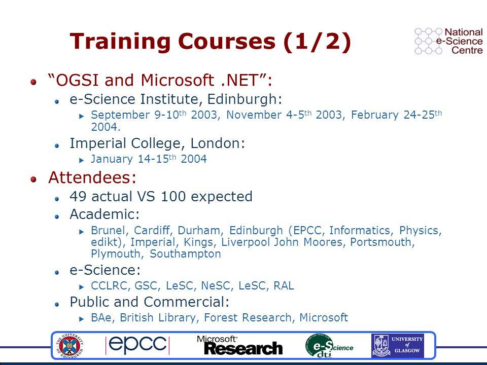 Training Courses (1/2) OGSI and Microsoft.NET : e-Science Institute, Edinburgh:  September 9-10 th 2003, November 4-5 th 2003, February 24-25 th 2004.
