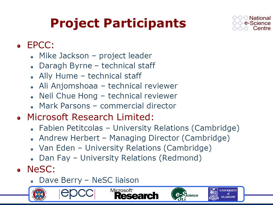 Project Participants EPCC: Mike Jackson – project leader Daragh Byrne – technical staff Ally Hume – technical staff Ali Anjomshoaa – technical reviewer Neil Chue Hong – technical reviewer Mark Parsons – commercial director Microsoft Research Limited: Fabien Petitcolas – University Relations (Cambridge) Andrew Herbert – Managing Director (Cambridge) Van Eden – University Relations (Cambridge) Dan Fay – University Relations (Redmond) NeSC: Dave Berry – NeSC liaison
