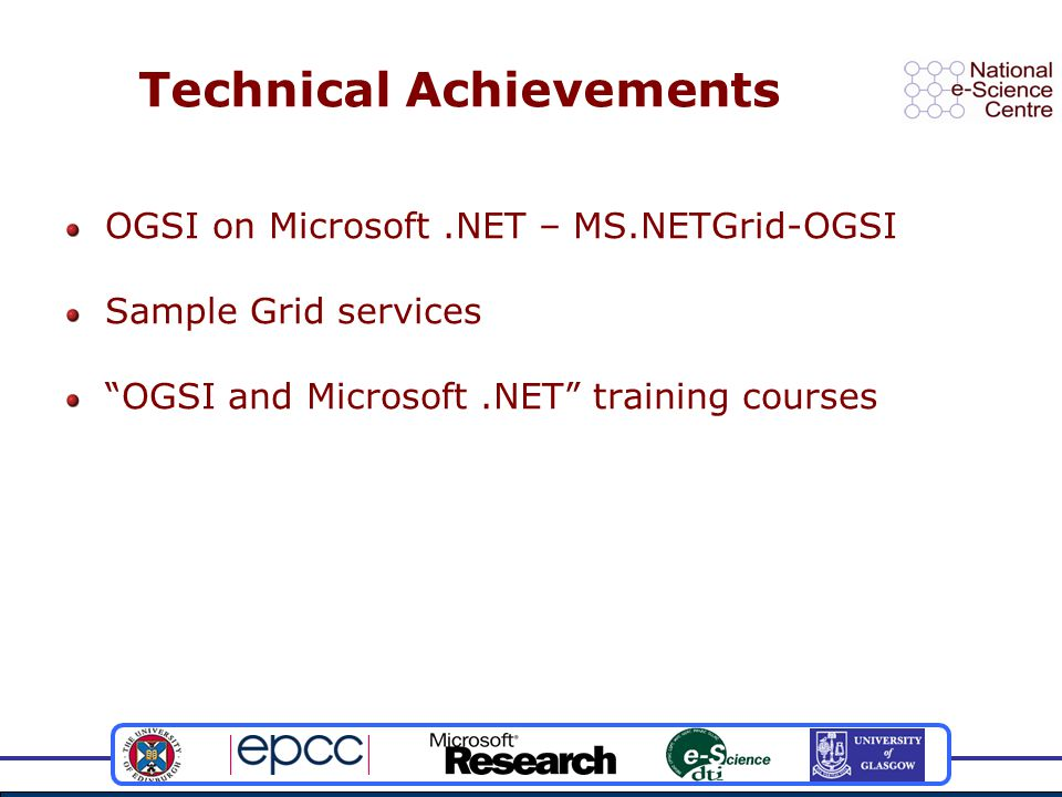 Technical Achievements OGSI on Microsoft.NET – MS.NETGrid-OGSI Sample Grid services OGSI and Microsoft.NET training courses