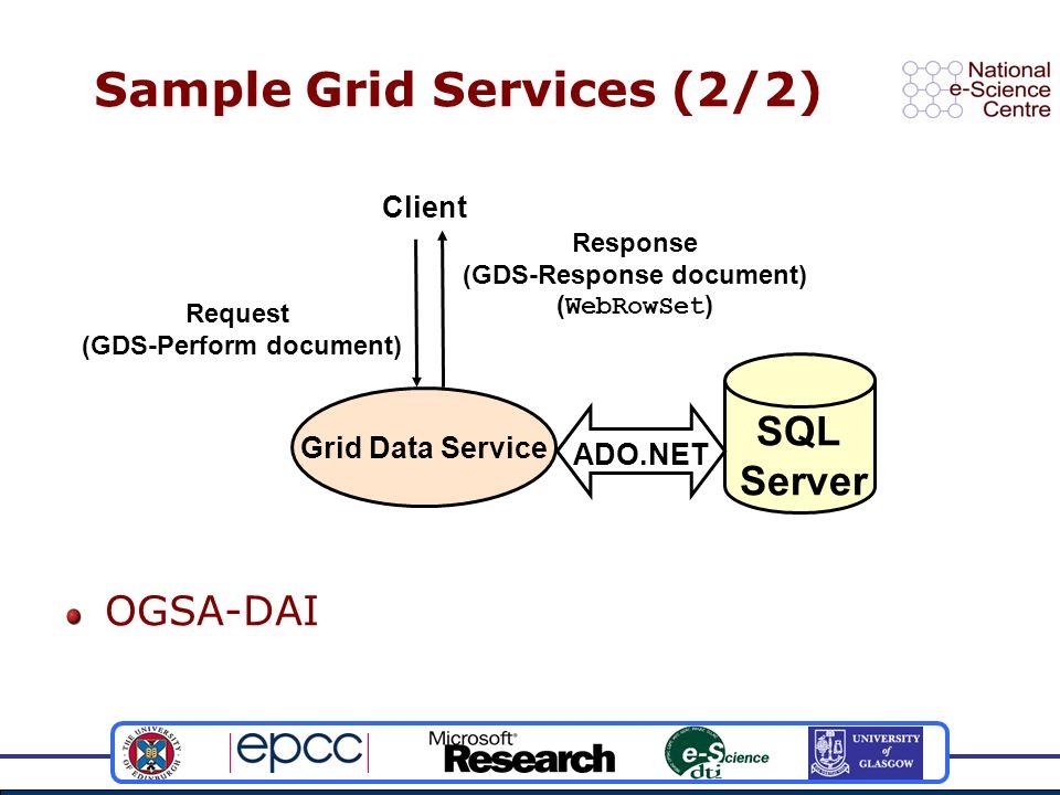 OGSA-DAI Sample Grid Services (2/2) Grid Data Service SQL Server Client Request (GDS-Perform document) Response (GDS-Response document) ( WebRowSet ) ADO.NET