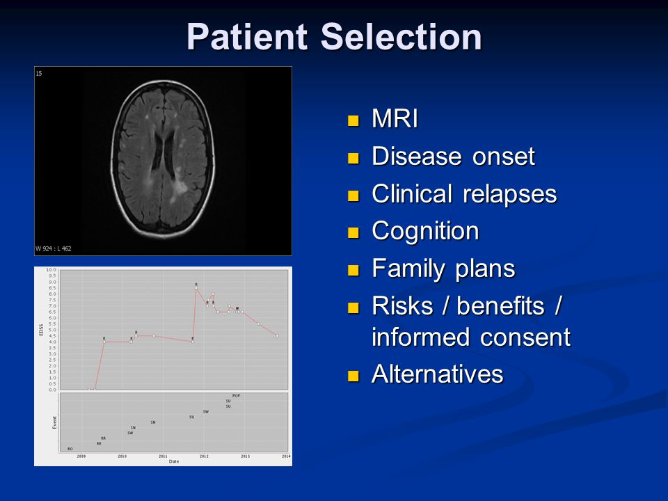 Patient Selection MRI Disease onset Clinical relapses Cognition Family plans Risks / benefits / informed consent Alternatives