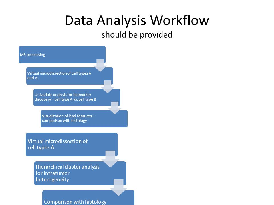 Data Analysis Workflow should be provided MS processing Virtual microdissection of cell types A and B Univariate analysis for biomarker discovery – cell type A vs.