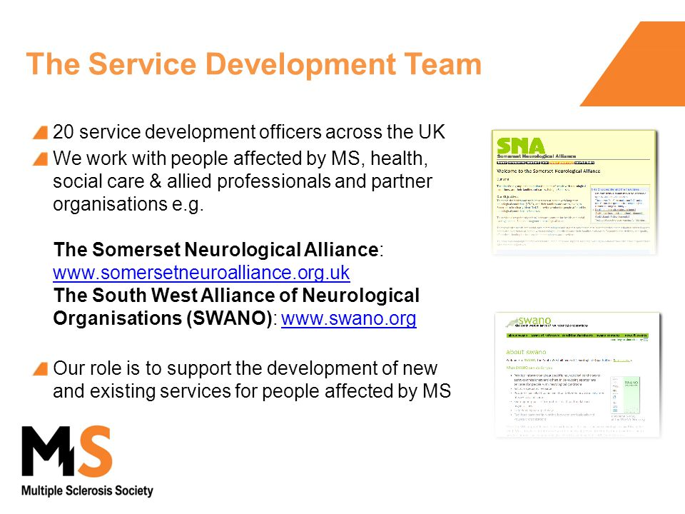 The Service Development Team 20 service development officers across the UK We work with people affected by MS, health, social care & allied professionals and partner organisations e.g.