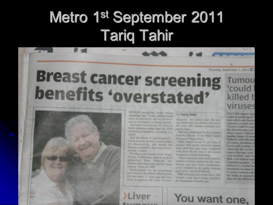 Metro 1 st September 2011 Tariq Tahir