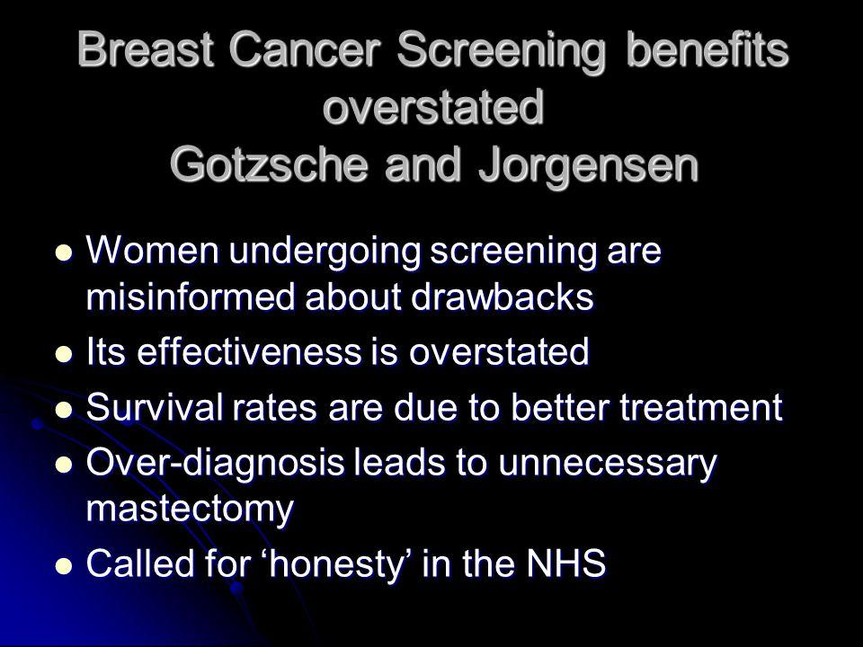 Breast Cancer Screening benefits overstated Gotzsche and Jorgensen Women undergoing screening are misinformed about drawbacks Women undergoing screeni