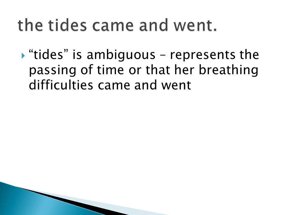  tides is ambiguous – represents the passing of time or that her breathing difficulties came and went