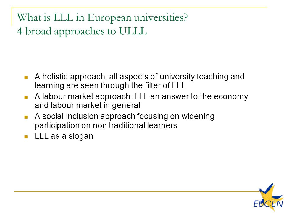 What is LLL in European universities.