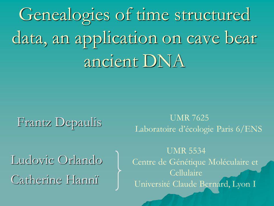 Genealogies of time structured data, an application on cave bear ancient DNA Frantz Depaulis Ludovic Orlando Catherine Hannï UMR 5534 Centre de Généti