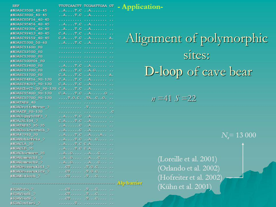 Alignment of polymorphic sites: D-loop of cave bear REF TTGTCAACTT TCGAATTGAA GT #NOASC3500_40-45..A....T.C..A.........