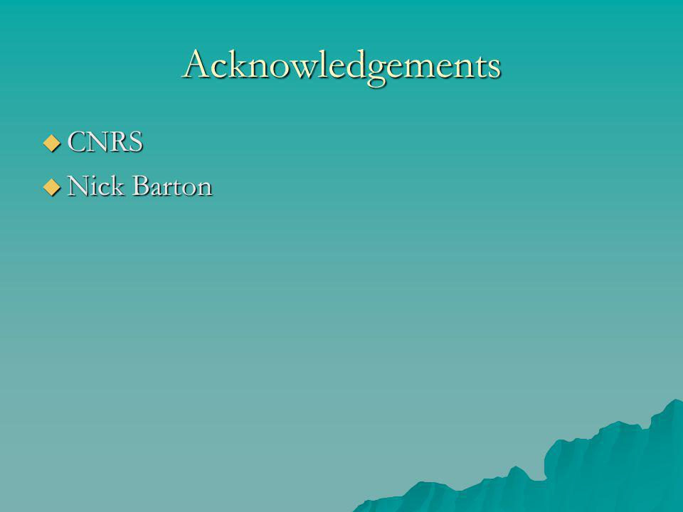 Acknowledgements  CNRS  Nick Barton