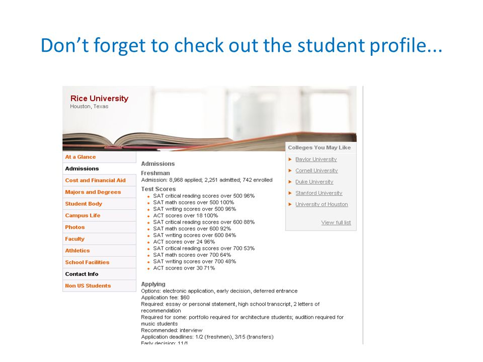 Don't forget to check out the student profile...