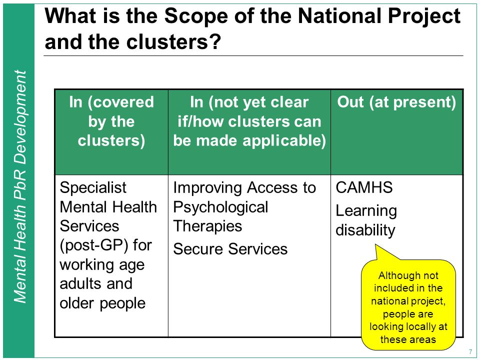 Mental Health PbR Development 7 What is the Scope of the National Project and the clusters? In (covered by the clusters) In (not yet clear if/how clus