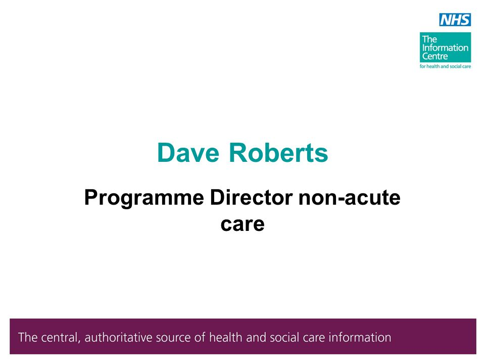 Dave Roberts Programme Director non-acute care