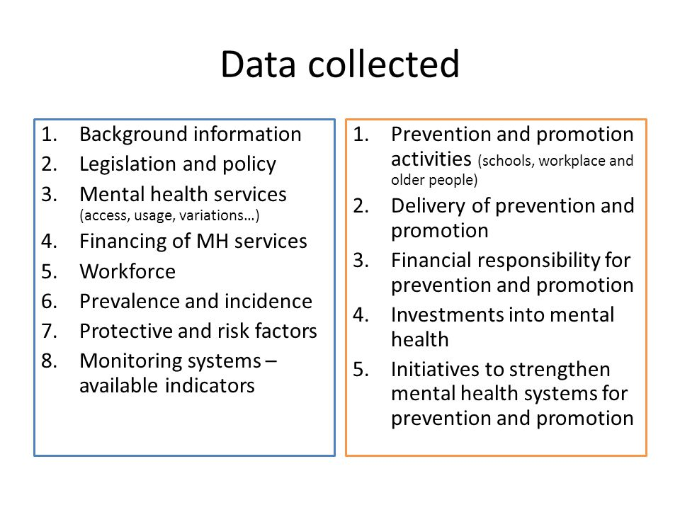 Data collected 1.Background information 2.Legislation and policy 3.Mental health services (access, usage, variations…) 4.Financing of MH services 5.Wo
