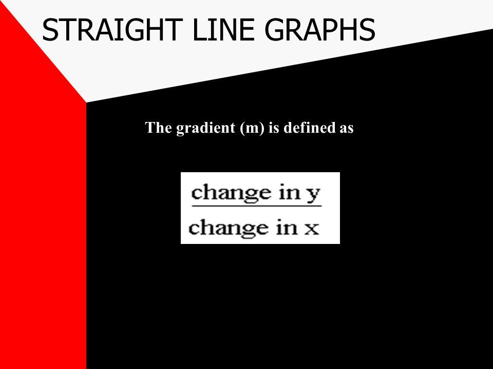 STRAIGHT LINE GRAPHS WE CAN SEE THAT THE LINE CROSSES THE Y AXIS AT THE POINT (0,-4) SO 'C' IS -4 IF WE USE THIS GRAPH