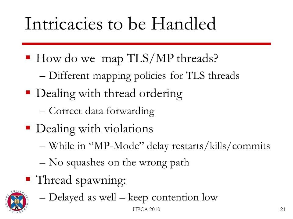 Intricacies to be Handled  How do we map TLS/MP threads? –Different mapping policies for TLS threads  Dealing with thread ordering –Correct data for