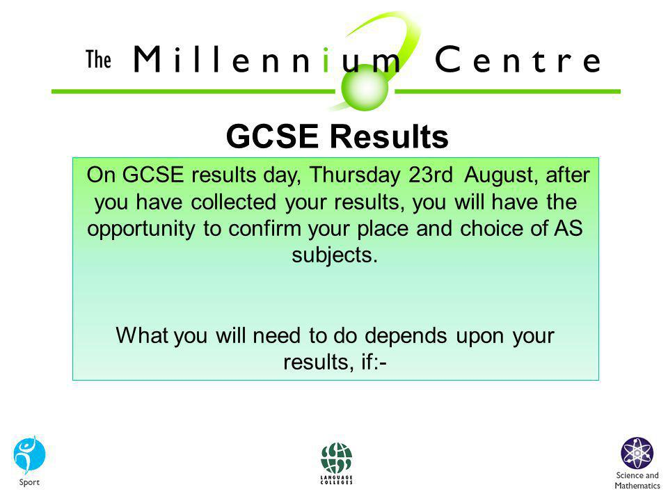 GCSE Results On GCSE results day, Thursday 23rd August, after you have collected your results, you will have the opportunity to confirm your place and choice of AS subjects.