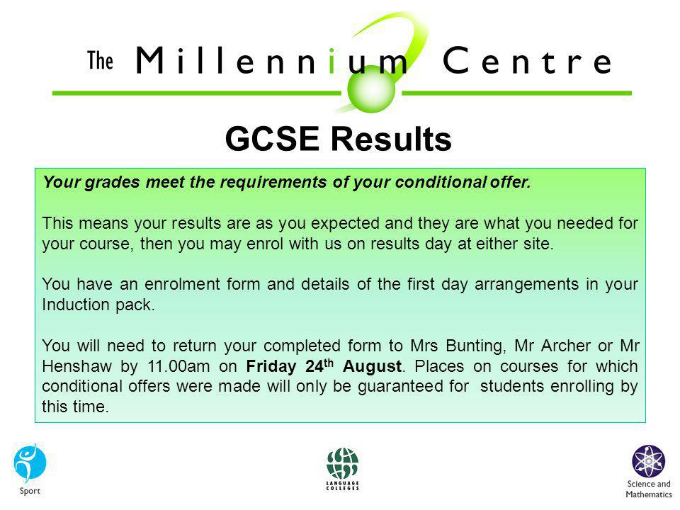 GCSE Results Your grades meet the requirements of your conditional offer.