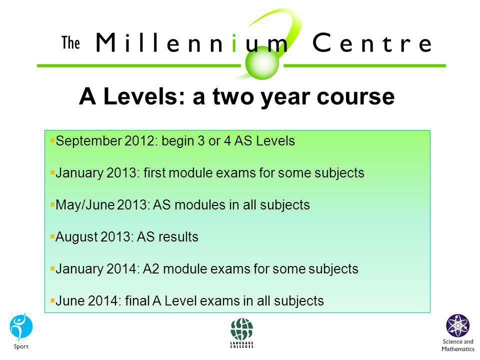  September 2012: begin 3 or 4 AS Levels  January 2013: first module exams for some subjects  May/June 2013: AS modules in all subjects  August 2013: AS results  January 2014: A2 module exams for some subjects  June 2014: final A Level exams in all subjects A Levels: a two year course