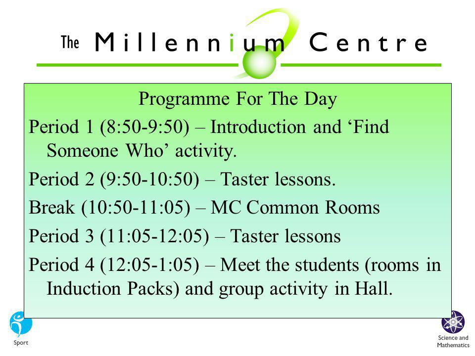 When you enrol you will receive your copy of the Millennium Centre Contract, which you will need to read carefully, sign and return in September.