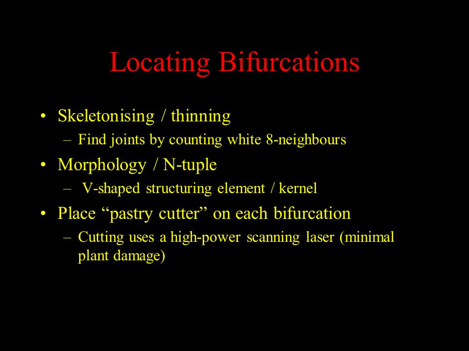 Locating Bifurcations Skeletonising / thinning –Find joints by counting white 8-neighbours Morphology / N-tuple – V-shaped structuring element / kernel Place pastry cutter on each bifurcation –Cutting uses a high-power scanning laser (minimal plant damage)