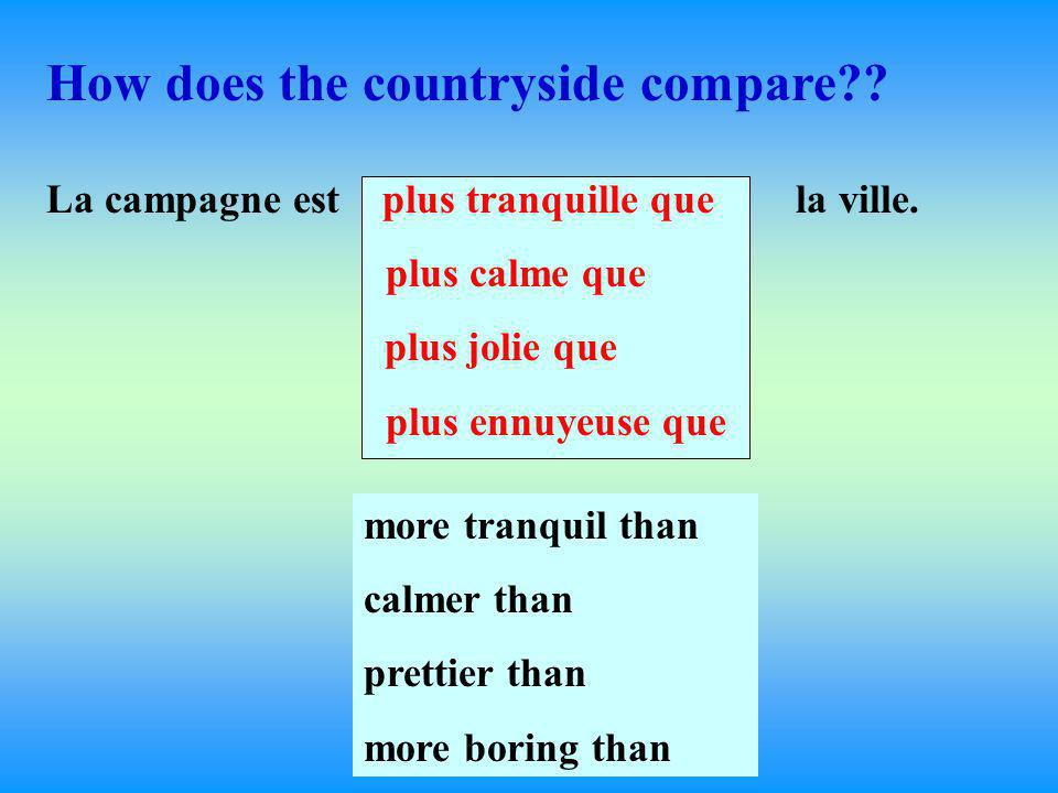 Now let's compare your town with the country. Ma ville estplus animée que la campagne.