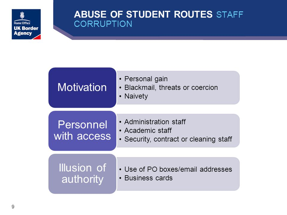 9 ABUSE OF STUDENT ROUTES STAFF CORRUPTION Personal gain Blackmail, threats or coercion Naivety Motivation Administration staff Academic staff Security, contract or cleaning staff Personnel with access Use of PO boxes/email addresses Business cards Illusion of authority
