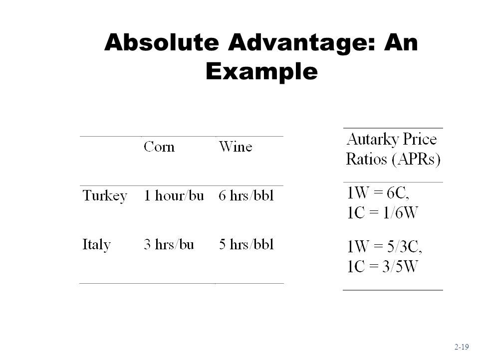 2-19 Absolute Advantage: An Example