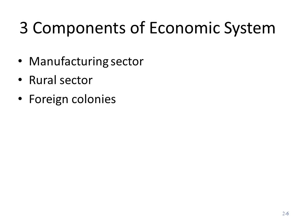 2-6 3 Components of Economic System Manufacturing sector Rural sector Foreign colonies