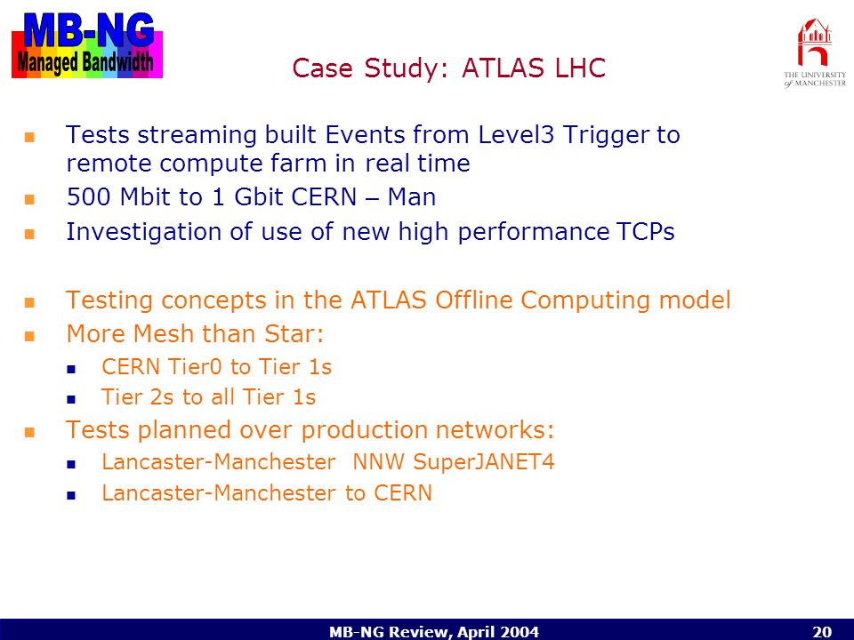 MB-NG Review, April 200420 Case Study: ATLAS LHC Tests streaming built Events from Level3 Trigger to remote compute farm in real time 500 Mbit to 1 Gbit CERN – Man Investigation of use of new high performance TCPs Testing concepts in the ATLAS Offline Computing model More Mesh than Star: CERN Tier0 to Tier 1s Tier 2s to all Tier 1s Tests planned over production networks: Lancaster-Manchester NNW SuperJANET4 Lancaster-Manchester to CERN