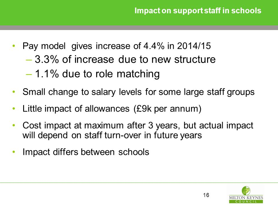 Impact on support staff in schools Pay model gives increase of 4.4% in 2014/15 –3.3% of increase due to new structure –1.1% due to role matching Small change to salary levels for some large staff groups Little impact of allowances (£9k per annum) Cost impact at maximum after 3 years, but actual impact will depend on staff turn-over in future years Impact differs between schools 16
