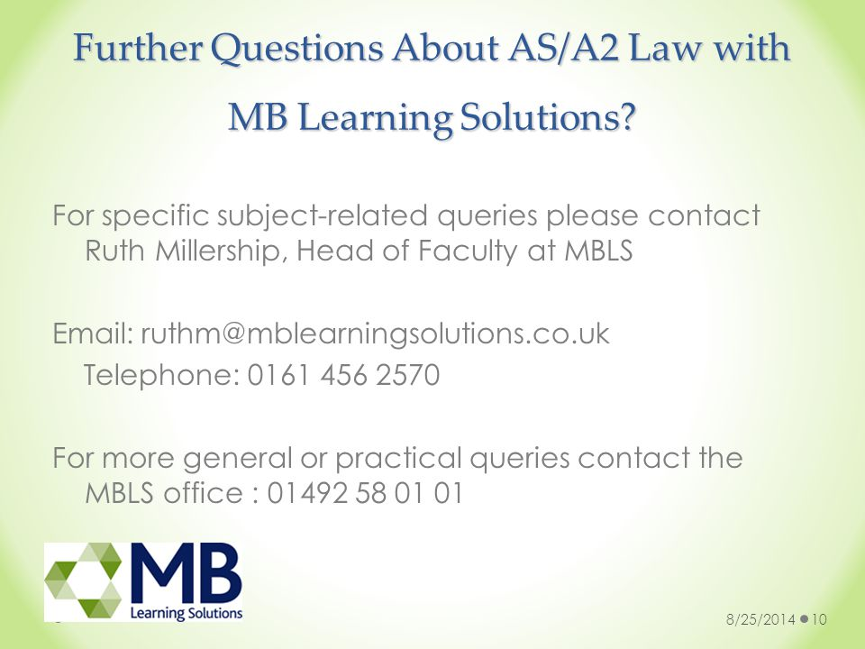 Further Questions About AS/A2 Law with MB Learning Solutions.