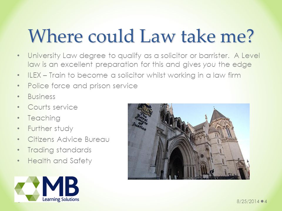 Where could Law take me. University Law degree to qualify as a solicitor or barrister.