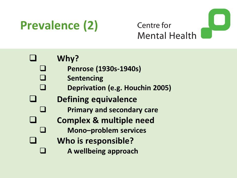 Prevalence (2)  Why.  Penrose (1930s-1940s)  Sentencing  Deprivation (e.g.