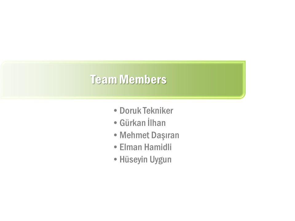 Team Members Doruk Tekniker Gürkan İlhan Mehmet Daşıran Elman Hamidli Hüseyin Uygun