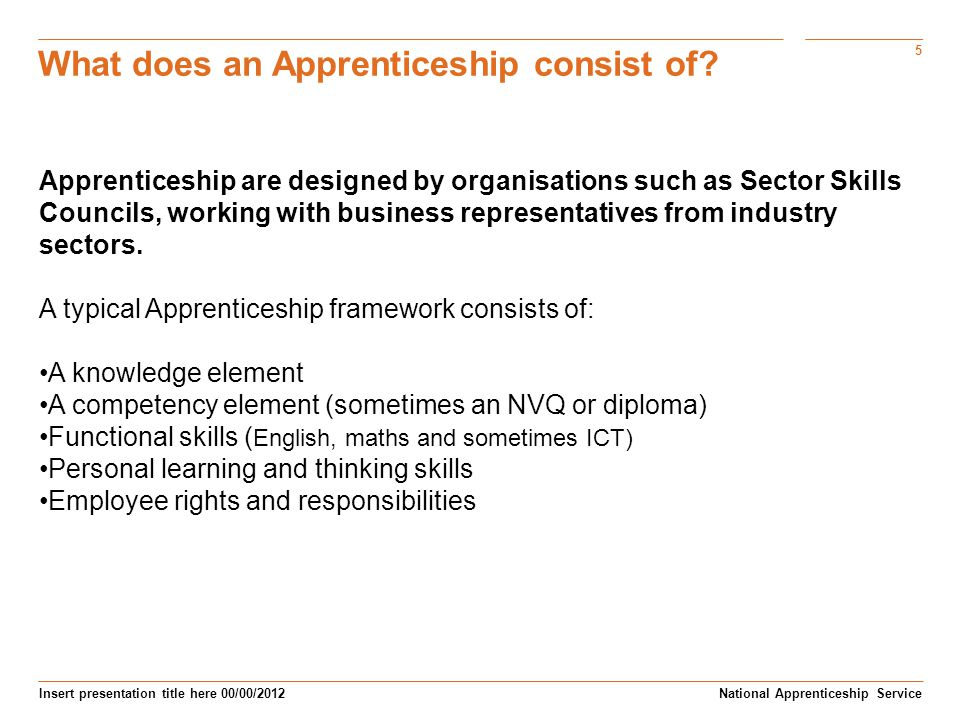 5 Insert presentation title here 00/00/2012 What does an Apprenticeship consist of.