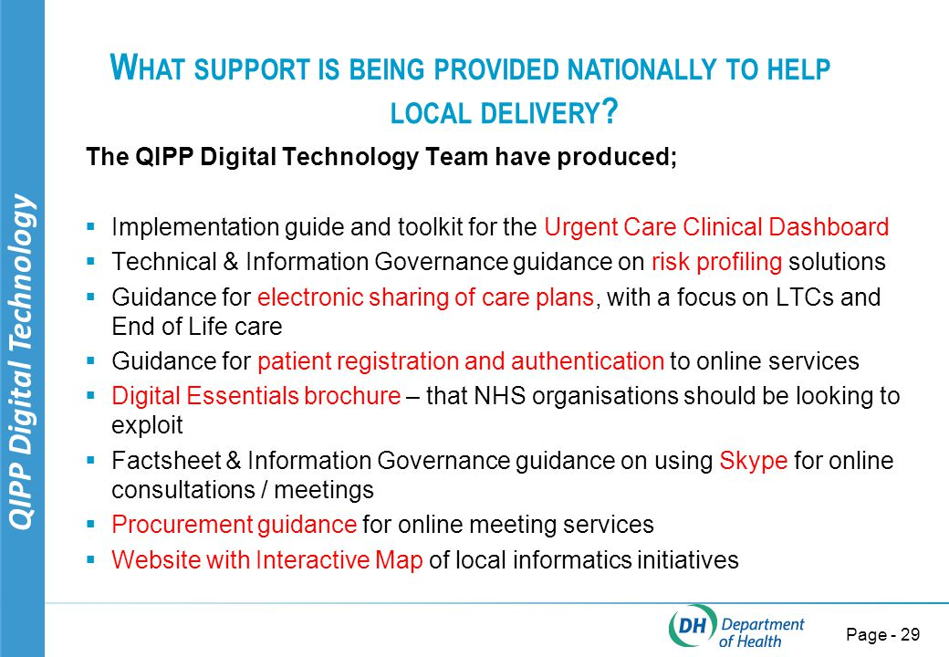 QIPP Digital Technology Page - 29 W HAT SUPPORT IS BEING PROVIDED NATIONALLY TO HELP LOCAL DELIVERY .