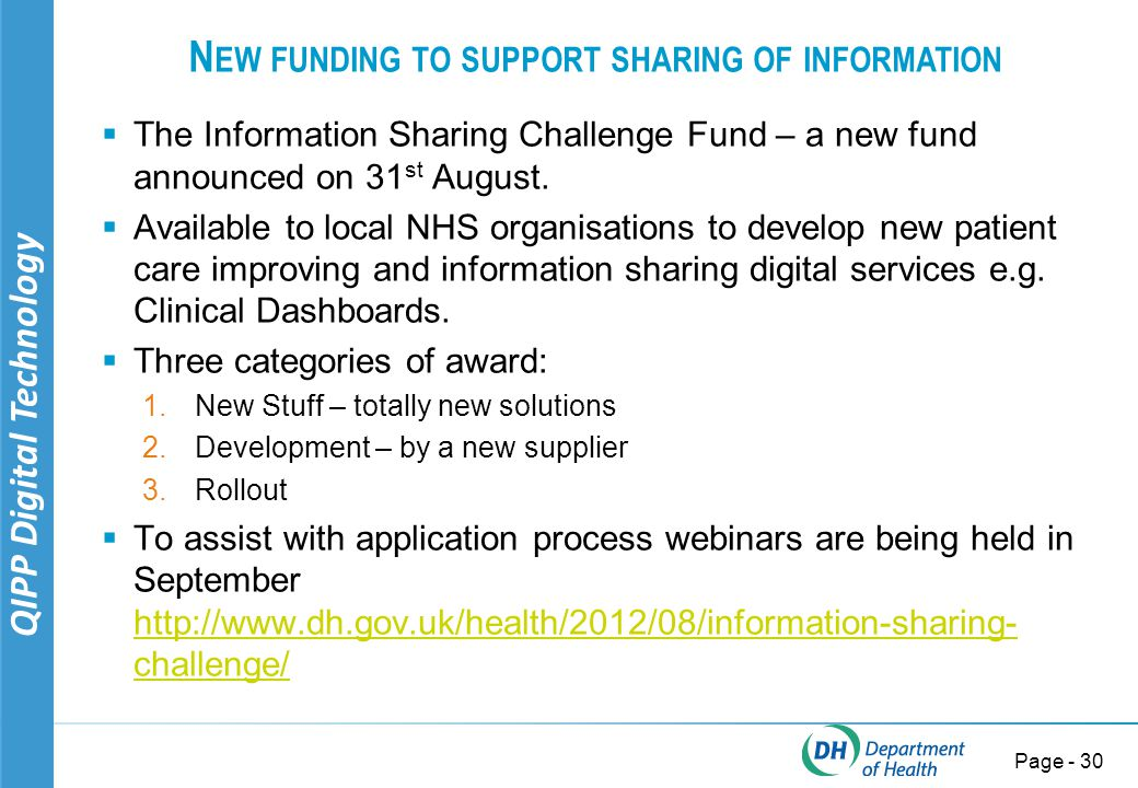 QIPP Digital Technology Page - 30 N EW FUNDING TO SUPPORT SHARING OF INFORMATION  The Information Sharing Challenge Fund – a new fund announced on 31 st August.