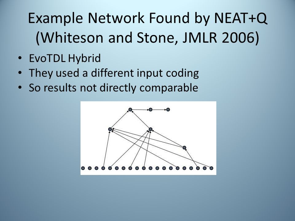 Example Network Found by NEAT+Q (Whiteson and Stone, JMLR 2006) EvoTDL Hybrid They used a different input coding So results not directly comparable