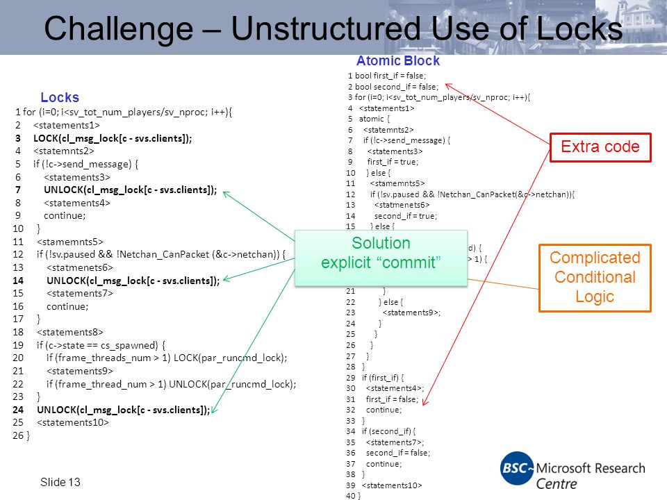Slide 13 Challenge – Unstructured Use of Locks Locks 1 for (i=0; i<sv_tot_num_players/sv_nproc; i++){ 2 3 LOCK(cl_msg_lock[c - svs.clients]); 4 5 if (!c->send_message) { 6 7 UNLOCK(cl_msg_lock[c - svs.clients]); 8 9 continue; 10 } 11 12 if (!sv.paused && !Netchan_CanPacket (&c->netchan)) { 13 14 UNLOCK(cl_msg_lock[c - svs.clients]); 15 16 continue; 17 } 18 19 if (c->state == cs_spawned) { 20 if (frame_threads_num > 1) LOCK(par_runcmd_lock); 21 22 if (frame_thread_num > 1) UNLOCK(par_runcmd_lock); 23 } 24 UNLOCK(cl_msg_lock[c - svs.clients]); 25 26 } Atomic Block 1 bool first_if = false; 2 bool second_if = false; 3 for (i=0; i<sv_tot_num_players/sv_nproc; i++){ 4 5 atomic { 6 7 if (!c->send_message) { 8 9 first_if = true; 10 } else { 11 12 if (!sv.paused && !Netchan_CanPacket(&c->netchan)){ 13 14 second_if = true; 15 } else { 16 17 if (c->state == cs_spawned) { 18 if (frame_threads_num > 1) { 19 atomic { 20 21 } 22 } else { 23 ; 24 } 25 } 26 } 27 } 28 } 29 if (first_if) { 30 ; 31 first_if = false; 32 continue; 33 } 34 if (second_if) { 35 ; 36 second_if = false; 37 continue; 38 } 39 40 } Extra code Complicated Conditional Logic Solution explicit commit Solution explicit commit