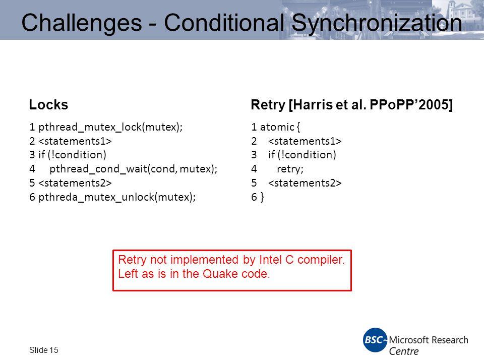 Slide 15 Challenges - Conditional Synchronization LocksRetry [Harris et al.