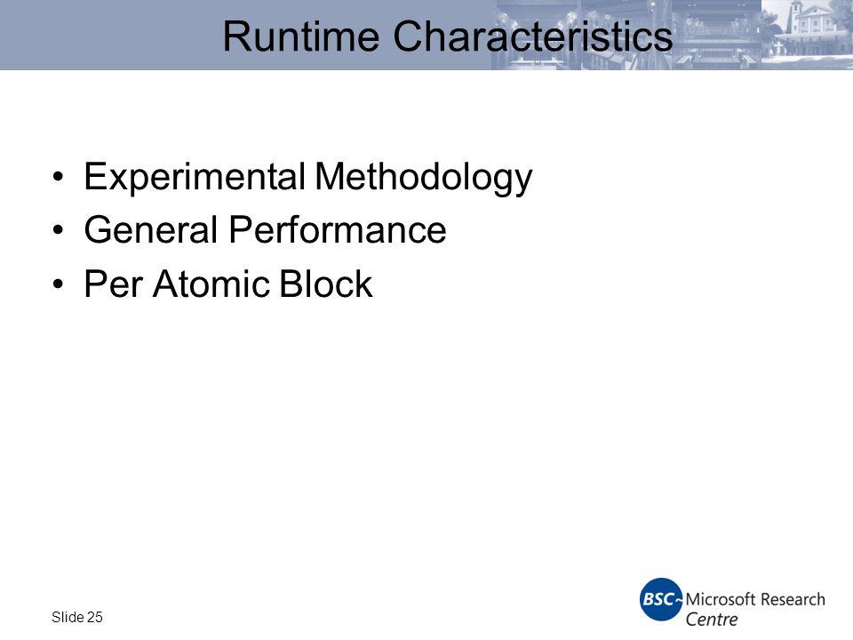 Slide 25 Runtime Characteristics Experimental Methodology General Performance Per Atomic Block