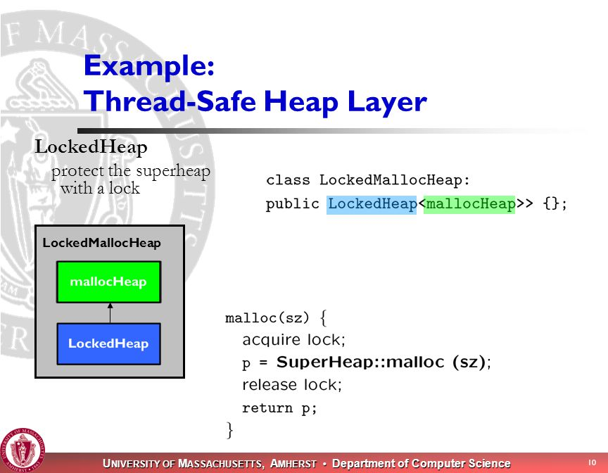 U NIVERSITY OF M ASSACHUSETTS, A MHERST Department of Computer Science 10 Example: Thread-Safe Heap Layer LockedHeap protect the superheap with a lock LockedMallocHeap