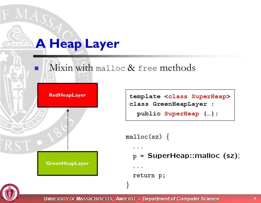 U NIVERSITY OF M ASSACHUSETTS, A MHERST Department of Computer Science 10 Example: Thread-Safe Heap Layer LockedHeap protect the superheap with a lock LockedMallocHeap