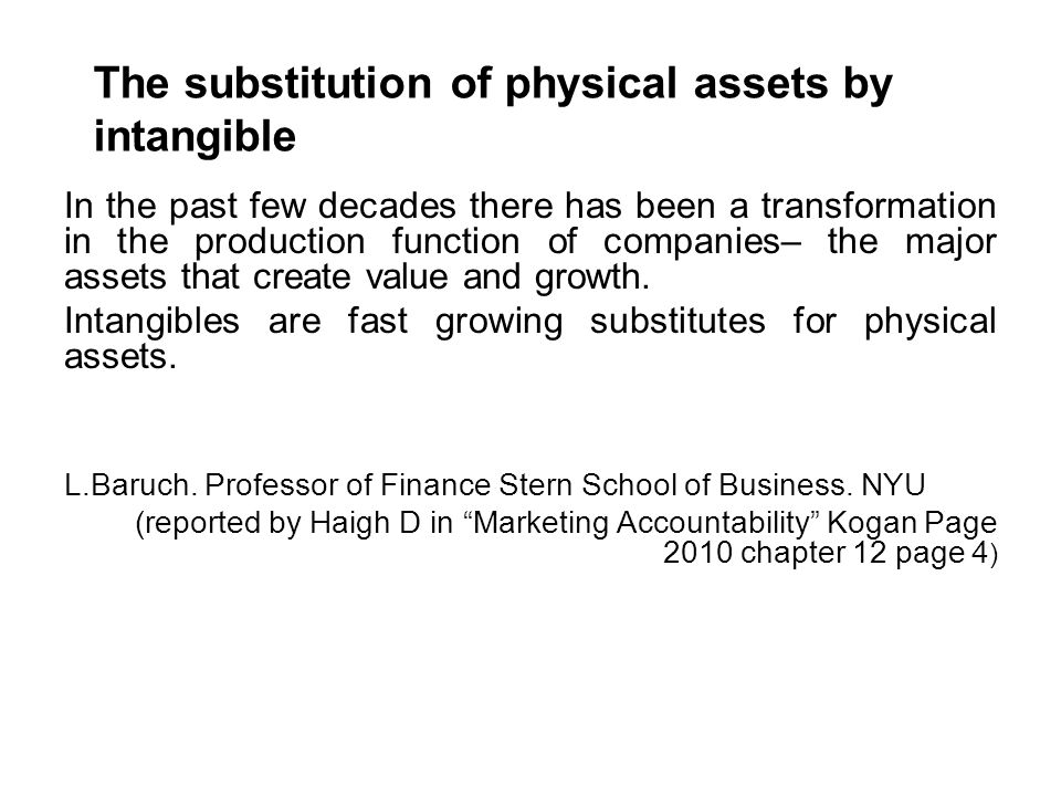 The substitution of physical assets by intangible In the past few decades there has been a transformation in the production function of companies– the major assets that create value and growth.